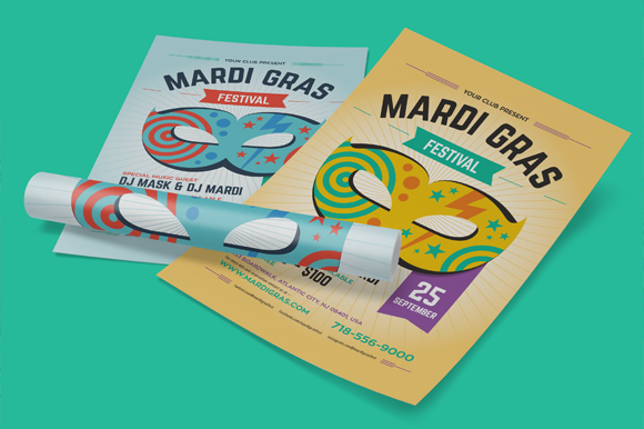 Mardi Gras Party Poster, vol.2  by EverydayTemplate on @creativework247