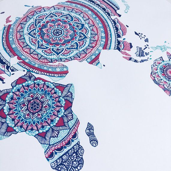 world map world map print mandala wall art wall art