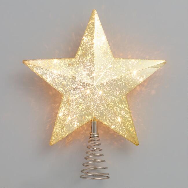 Gold LED Light Up Star Tree Topper - v1 - Gold LED Light Up Star Tree Topper - V1 Wants Tree Toppers