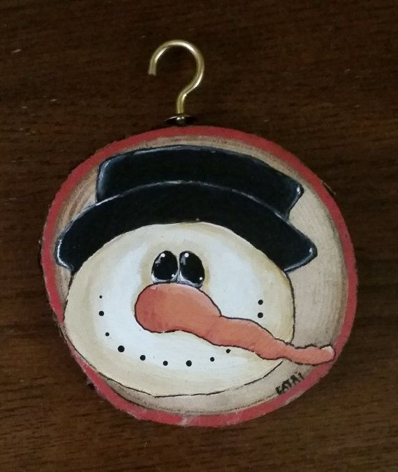 Hand Painted Snowman Wood Slice Ornament By Cathiswoodcrafts Wood Slice Ornament Snowman Painting Diy Snowman