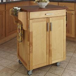 @Overstock - Add a contemporary touch to your kitchen with this cuisine cart from Home Styles. A natural finish with an oak top completes this two-cabinet cart.  http://www.overstock.com/Home-Garden/Home-Styles-Natural-Finish-Oak-Top-Cuisine-Cart/7021843/product.html?CID=214117 $259.99