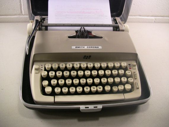 Vintage Portable Manual Typewriter With Case Smith Corona Galaxie Mid Century Home Office Equipment Decor