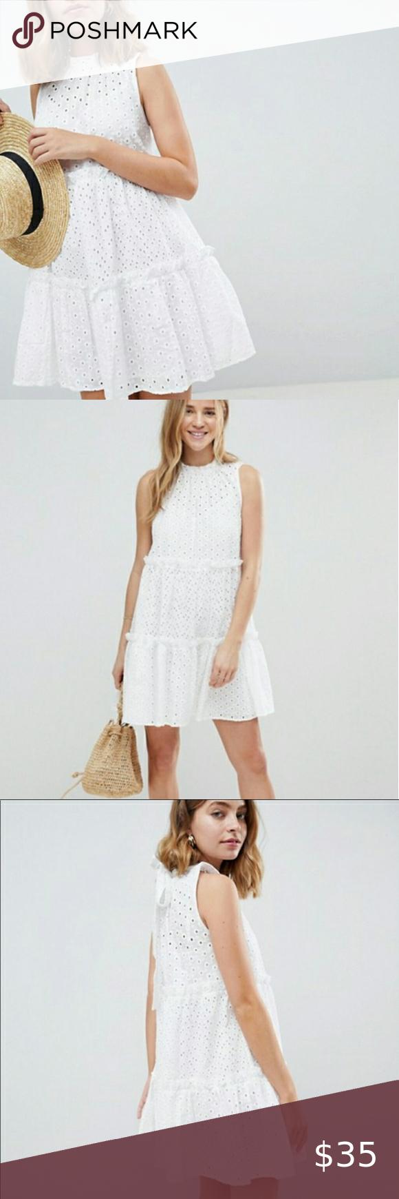 Asos White Broderie Eyelet Lace Trapeze Dress 6 Dresses Trapeze Dress Lace [ 1740 x 580 Pixel ]