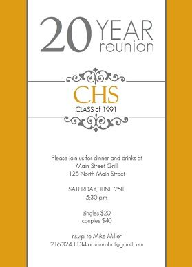 Golden 20 year class reunion invitation class reunion for Class reunion program template