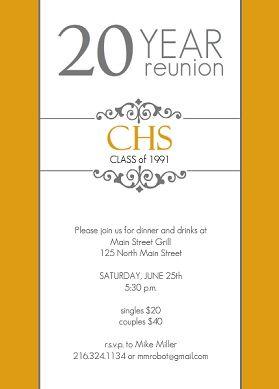 Golden 20 Year Class Reunion Invitation | School Reunion Ideas ...