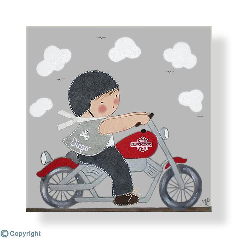 Cuadro infantil personalizado ni o motorista ref 12001 - Papel decoupage infantil ...