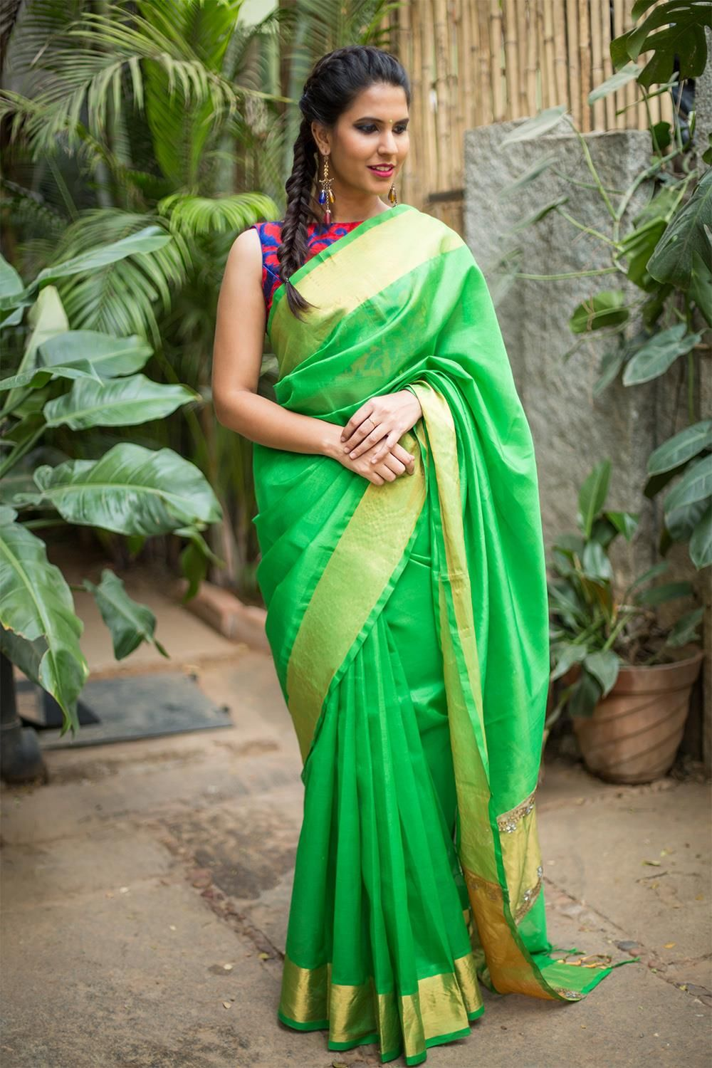 a95755c23bfb1 Parrot green handloom silk cotton saree with gold tissue border and pallu  detailing  saree  blouse  houseofblouse  indian  bollywood  style   parrotgreen ...