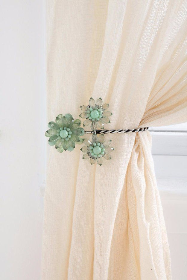 43 Clever Diy Ideas For Renters Flower Curtain Contemporary Curtains Curtain Tie Backs