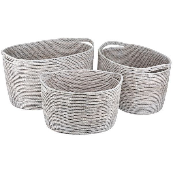 Baolgi vienna baskets set of 3 white 805 ❤ liked on polyvore featuring home home decor small item storage white home accessories woven basket