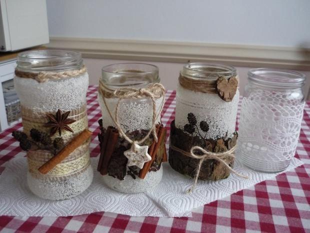 Vianočné lampášiky z pohárov na zaváranie. Krásna recyklácia. Autorka: dada. Vianoce, vianočné dekorácie, diy, hand made. Artmama.sk