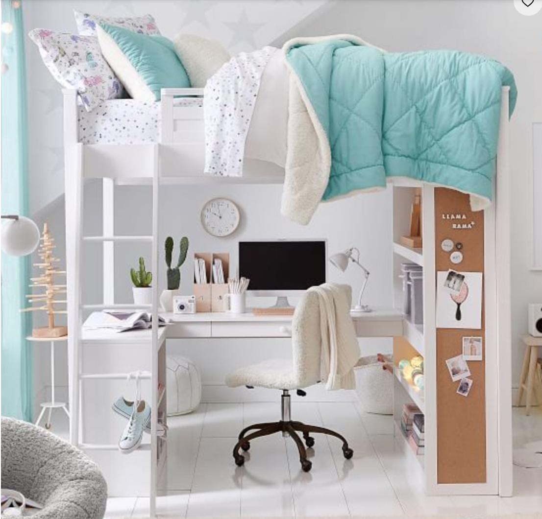 Teenager Cute Loft Bed With Storage Novocom Top