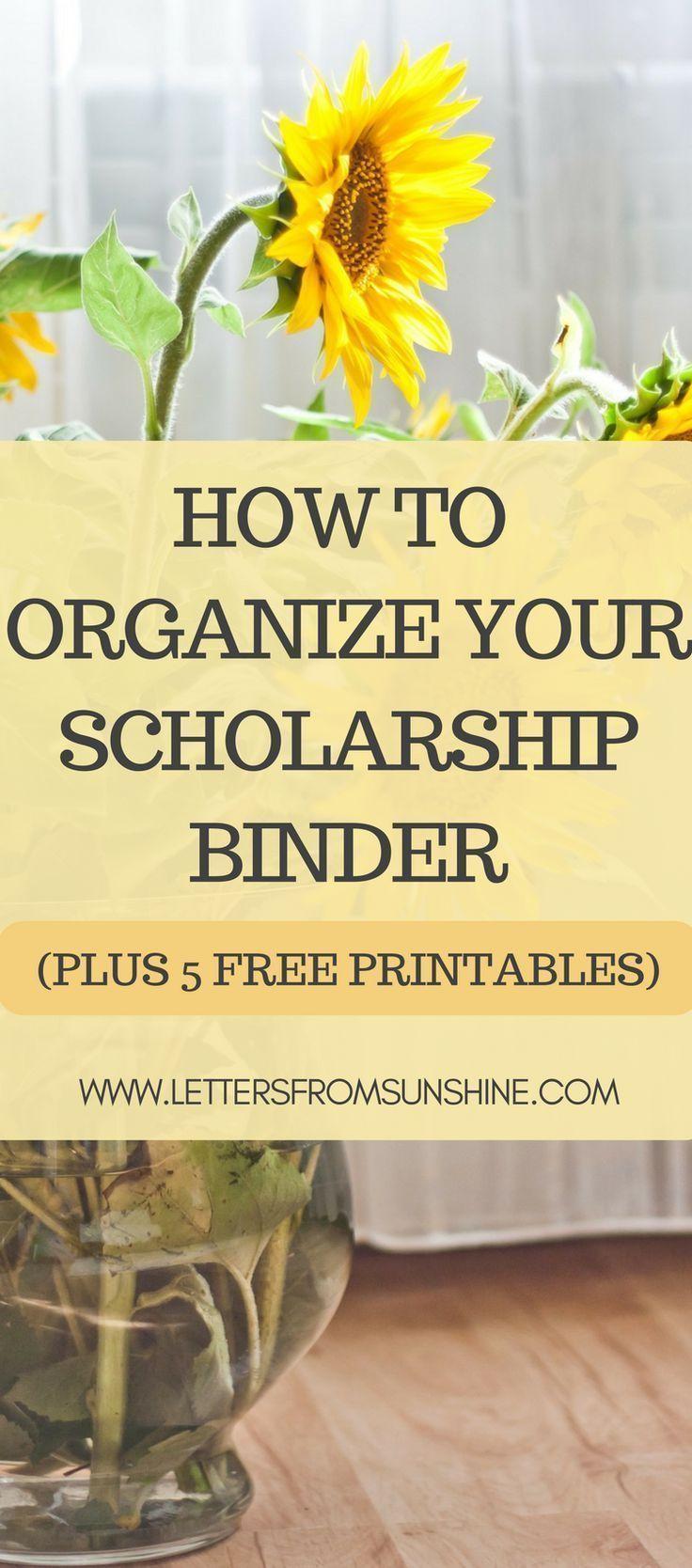 How to organize your scholarship binder school