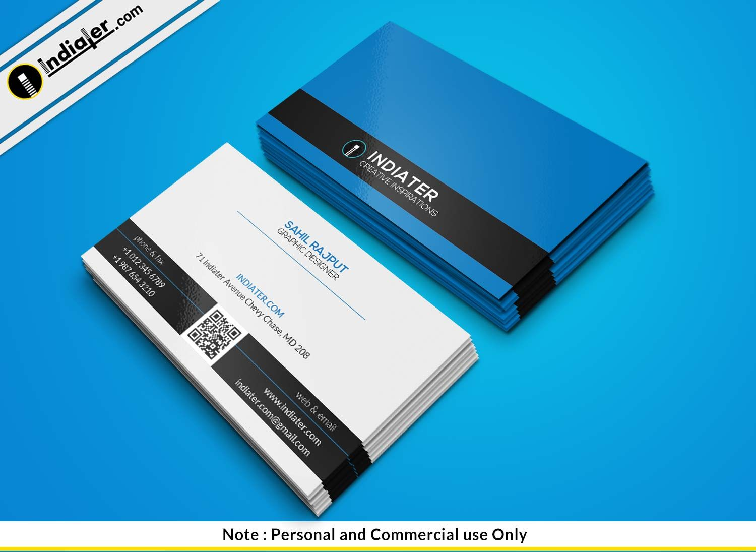 Free Blue Security Company Business Card Psd Template Company Business Cards Business Card Psd Free Business Card Maker