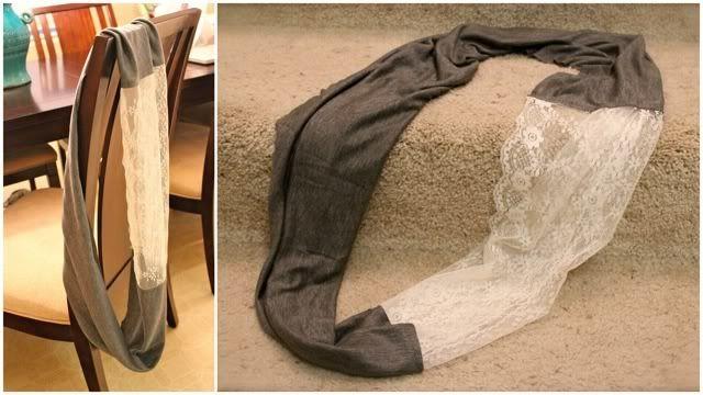 DIY Jersey/Lace Infinity Scarf | My Style | Pinterest | Infinity ...