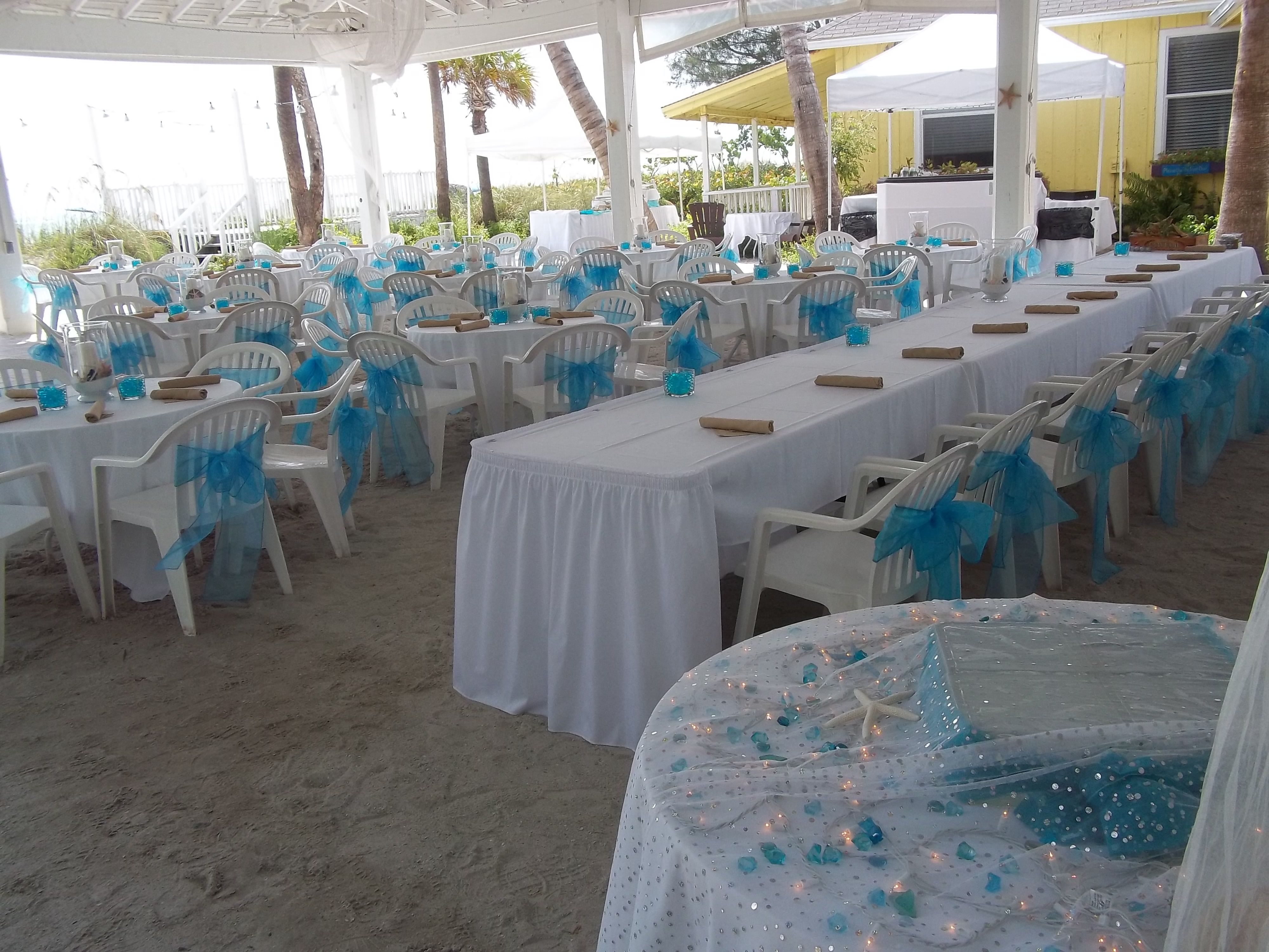 Sandbar pavilion in blue with head table beach weddings destination weddings junglespirit Images