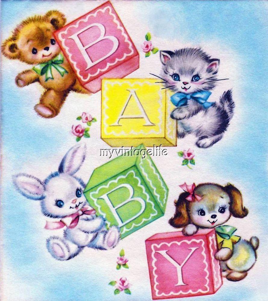 Vintage Nursery Baby Animals Baby Blocks Fabric Block Baby