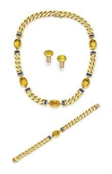A GROUP OF CITRINE AND GOLD JEWELRY, BY BVLGARI