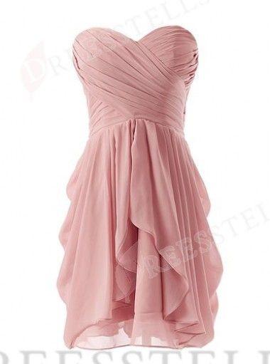Sexy A-Linie Herzausschnitt Mini Rosa Brautjungfernkleid mit Rüschen ...