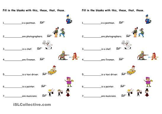 Fill In The Blank With This That These And Those Esl Worksheets Demonstrative Pronouns Pronoun Worksheets Verb Worksheets