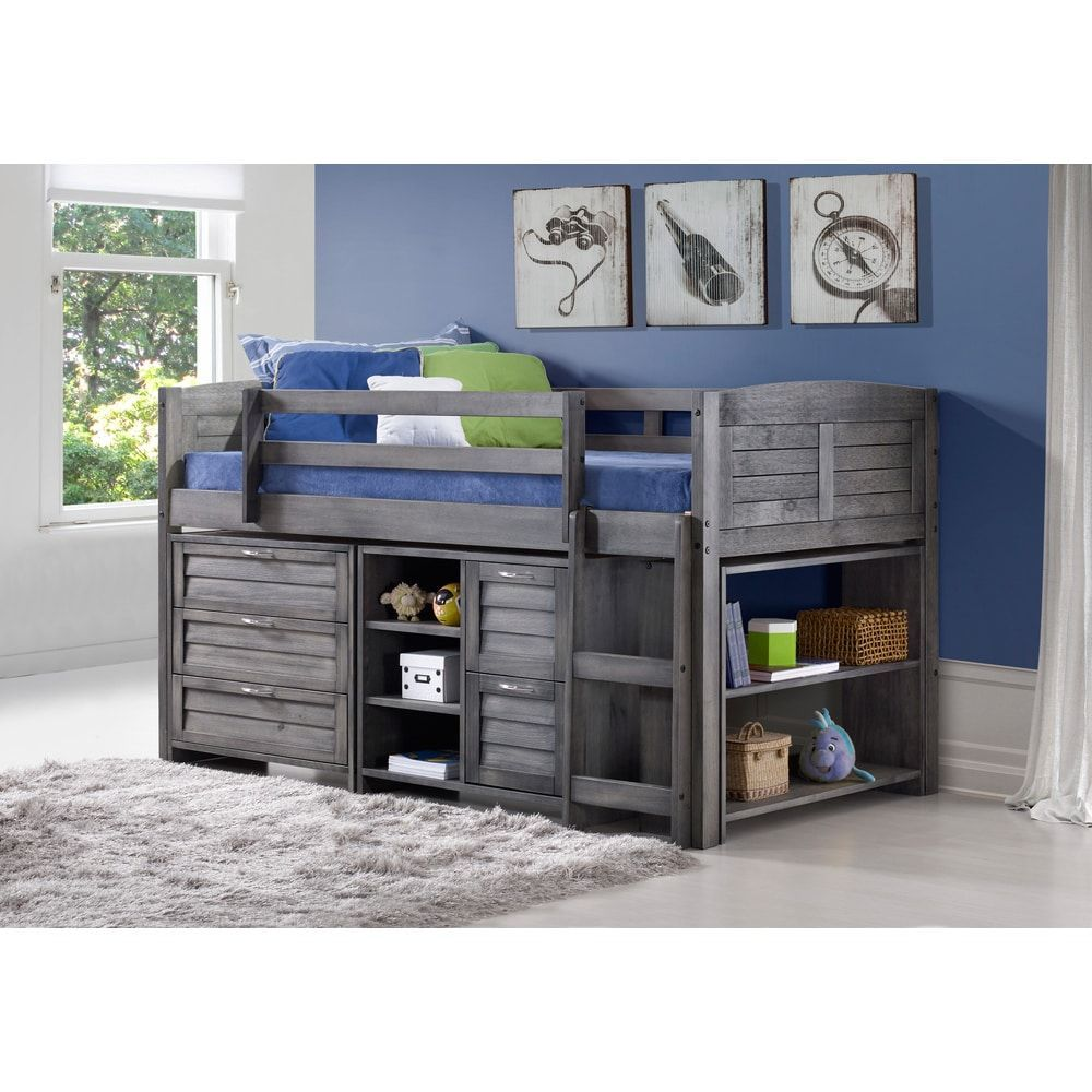 Metal loft bed with desk underneath  Donco Kids Grey Louver Low Loft Bed with Chests Shelves and
