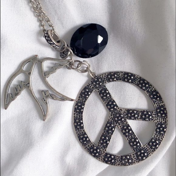 Long peace sign pendant necklace black crystals signs and pendants long peace sign pendant necklace mozeypictures Image collections