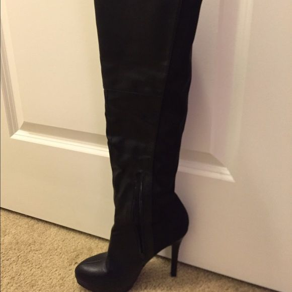 Knee High Heeled Boots Black. Worn once. True to size! Shoes Over the Knee Boots