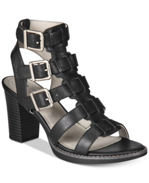 White Mountain Gemmy Block-Heel Dress Sandals - Black 10.5M
