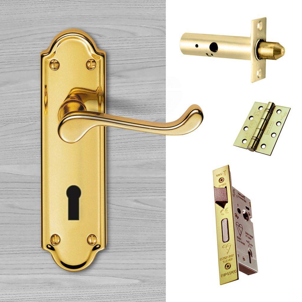 External Dl17 Ashtead Suite Lever Back Door Handle Pack Brass Finish Door Handles Door Furniture External Door Handles