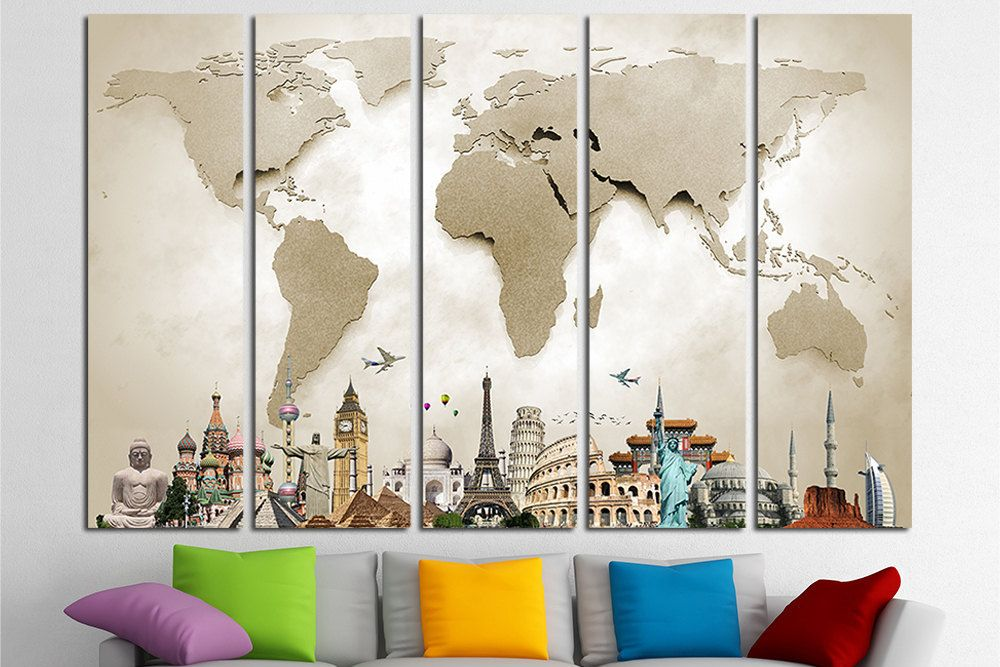 World map canvas print wall art multi panel world map wall decor world map canvas print wall art multi panel world map wall gumiabroncs Image collections