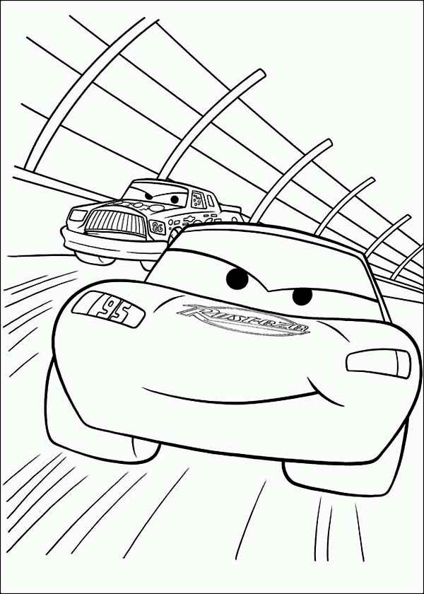 363169 Lightning Mcqueen In Car Race Coloring Page