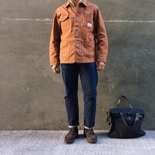 jeffdepano Sep.21.2016 @Bothrops1 impression 👊🏼😎 | Chore Coat: @StudioDArtisan via @BlueOwlWorkshop + Shirt: @Spellbound_Jeans + Jeans: @Resolute_Official + Bag: @Filson1897 + Boots: @BrickMortarSeattle Alden Reverse Tobacco Chamois Wingtip Boot | Photo: @kraigs_vintage_finds 2016/09/22 03:33:43
