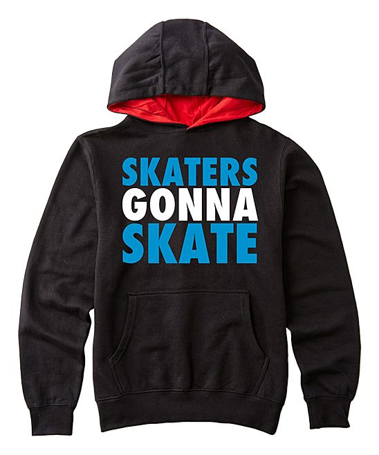 Black 'Skaters Gonna Skate' Pullover Hoodie - Kids