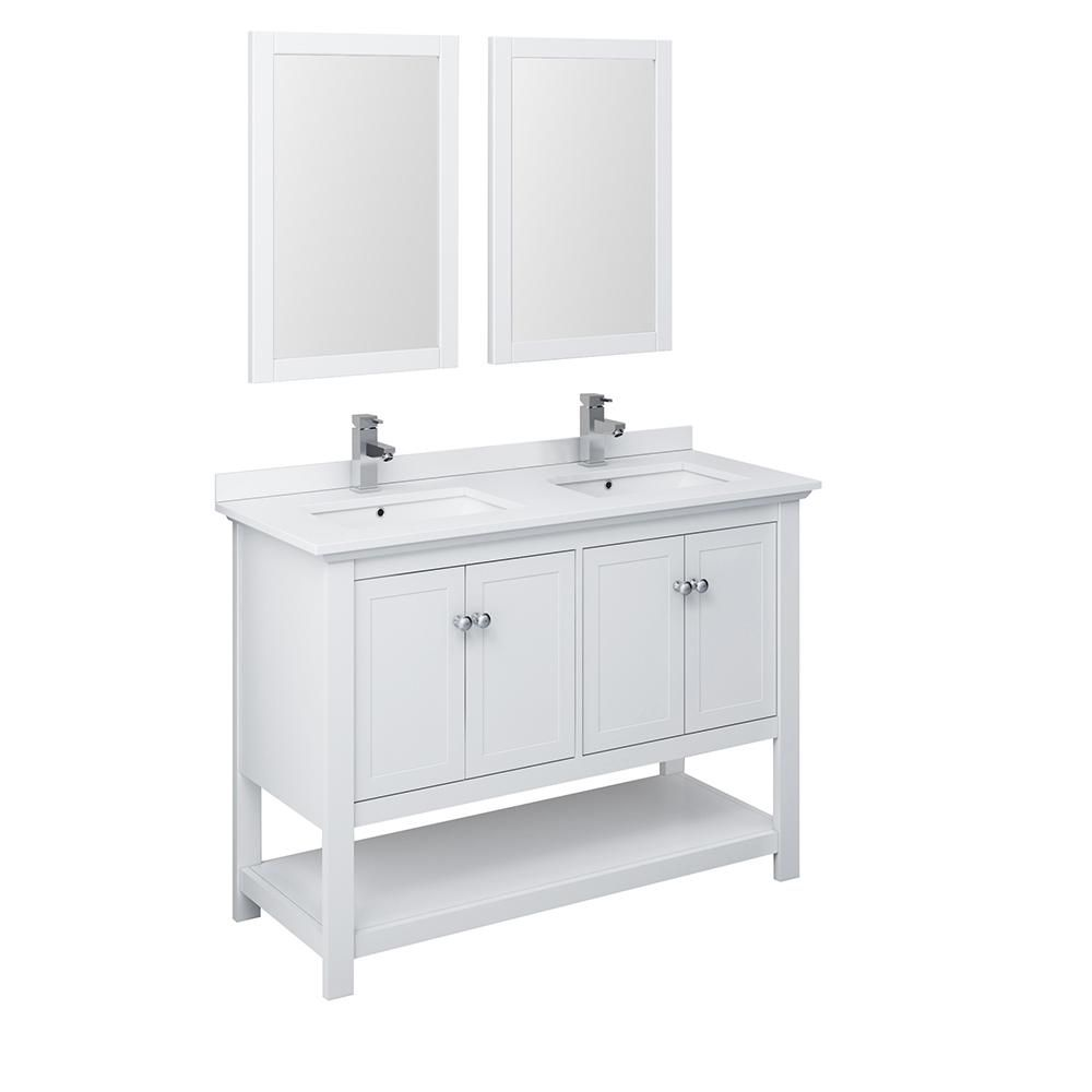 Fresca Manchester 48 In W Bathroom Double Bowl Vanity In White