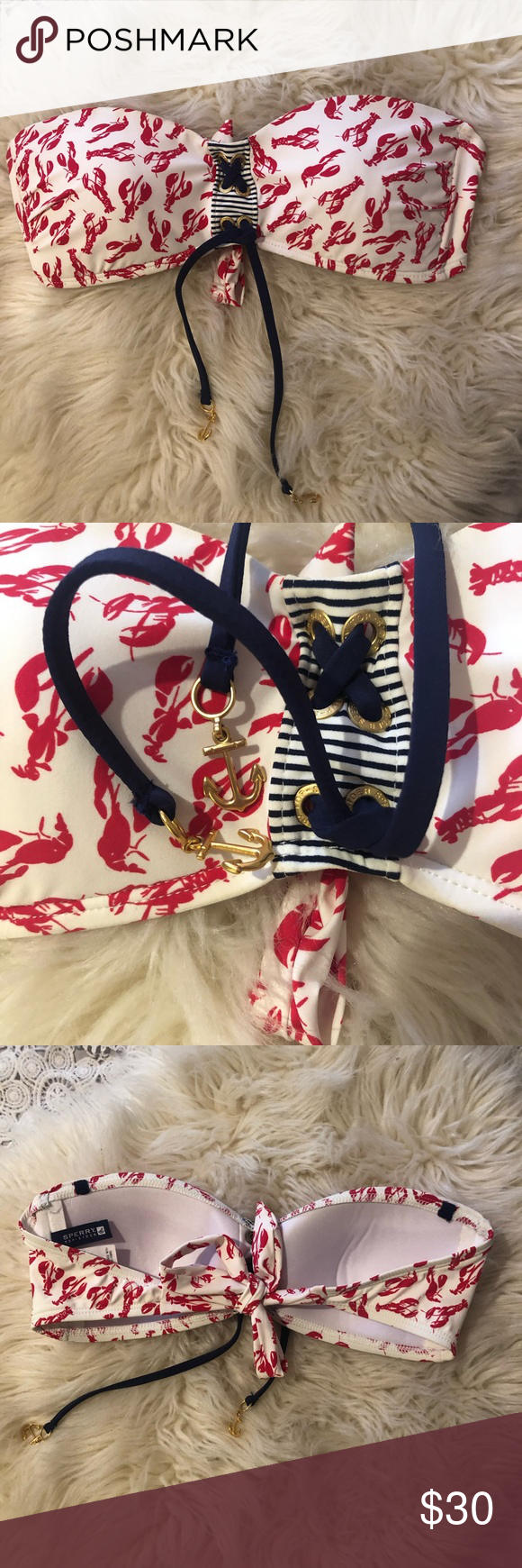 Sperry lobster print tube top with tie back | Sperrys