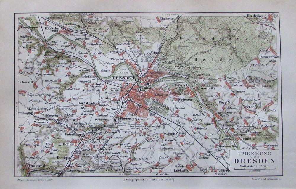 Details Zu 1889 Umgebung Von Dresden Alter Stadtplan Antique City