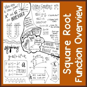 Square Root Function Overview  Doodle Notes  Square Roots Math