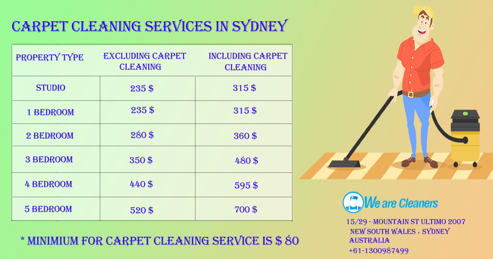 Check our price list for carpet cleaning services in