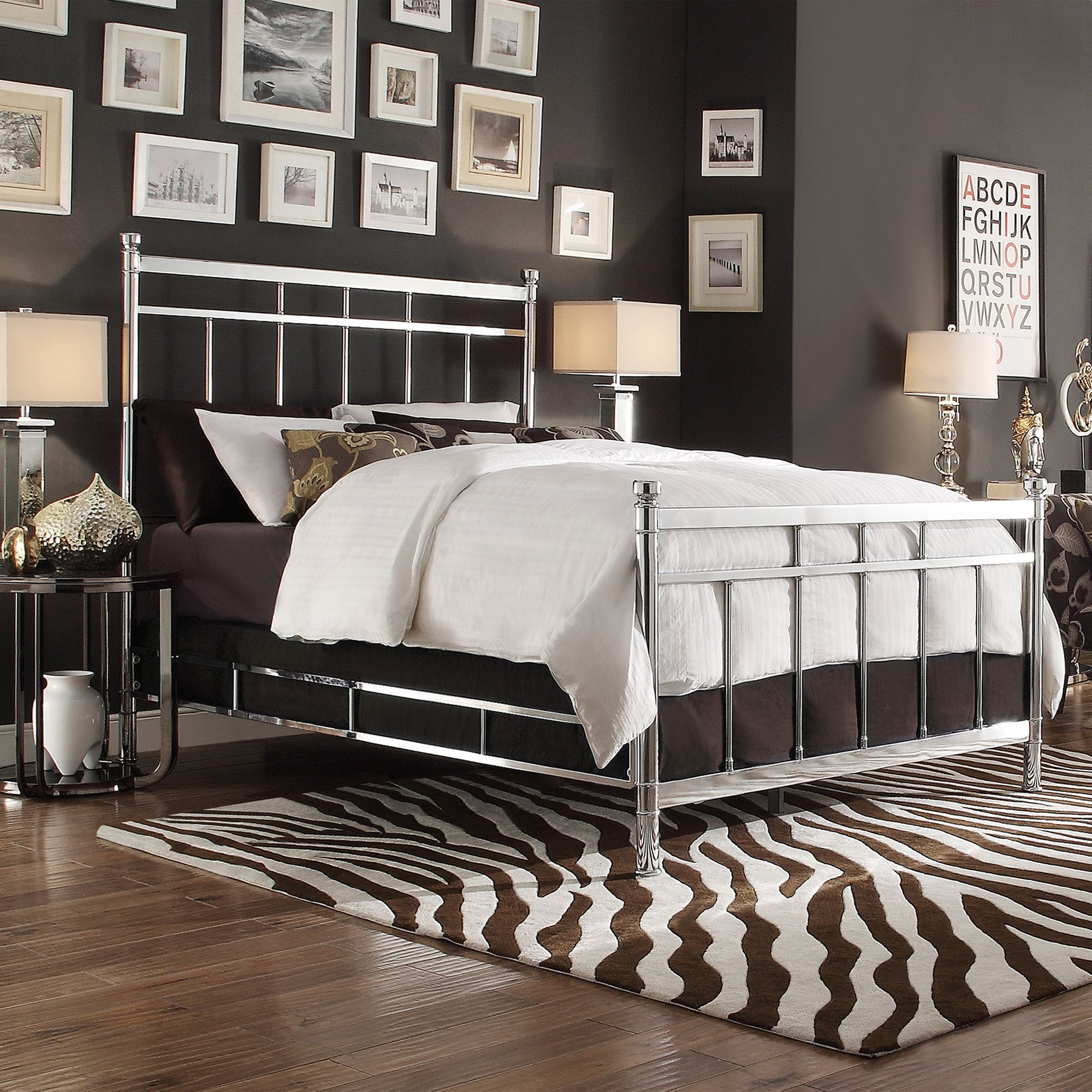 INSPIRE Q Bella King-size Contemporary Silver Chrome Bed | Overstock.com  Shopping -