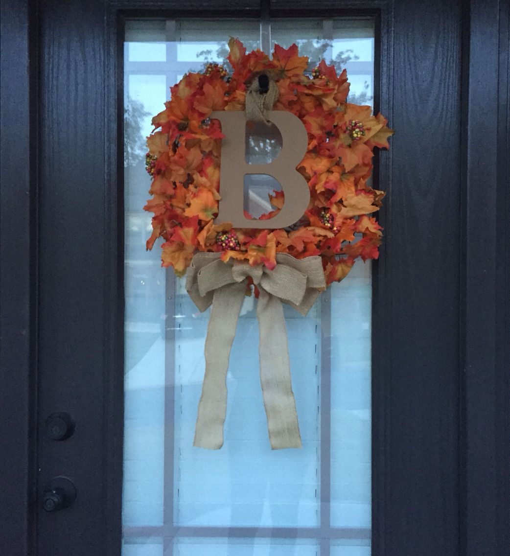 My Harvest Wreath. Maple Garland, Wreath frame, & Wire from Michaels ...