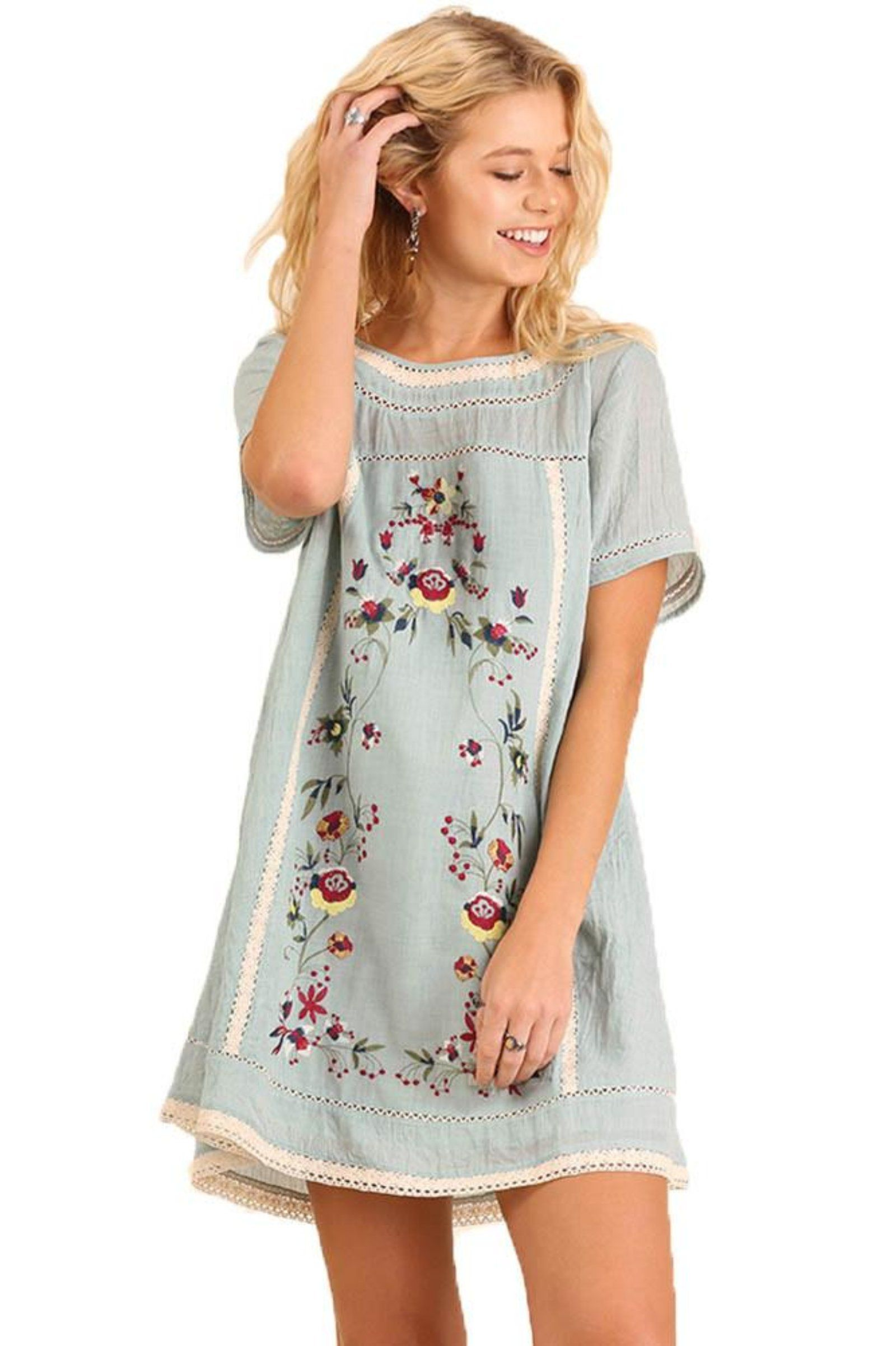 830dfe3e534576 Umgee Women s Light Blue Bohemian Embroidered Short Sleeve Dress or Tunic