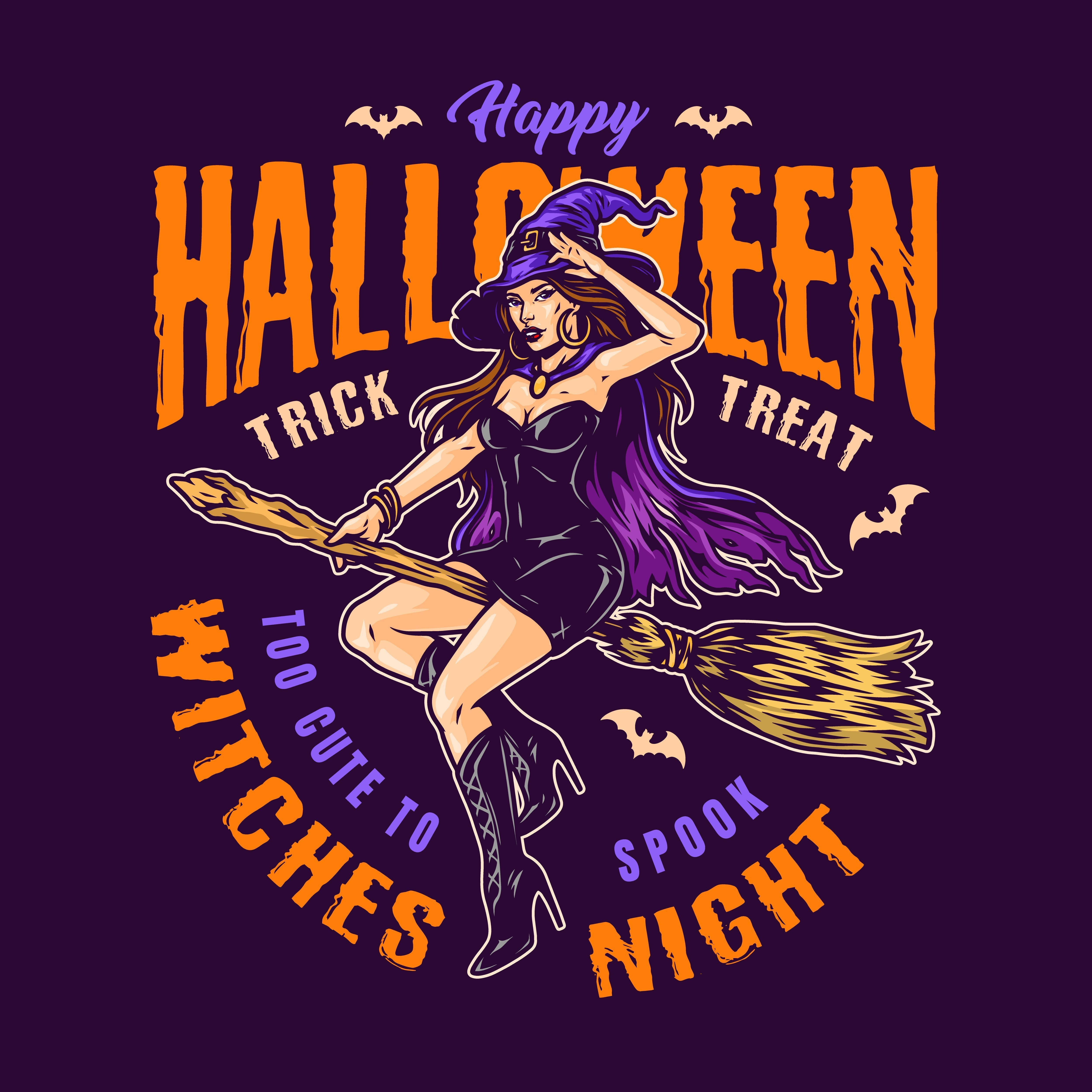 Halloween Sexy Witch on a broom vector illustration from 21 Halloween t-shirt designs. 100% vector designs with editable texts. All halloween designs are ready to be printed. Happy Halloween 2020! #witch #sexy #illustration #halloween #halloween2020 #halloweenideas #halloweenaesthetic #vectorillustration #halloweencostume #tshirtdesign #appareldesign