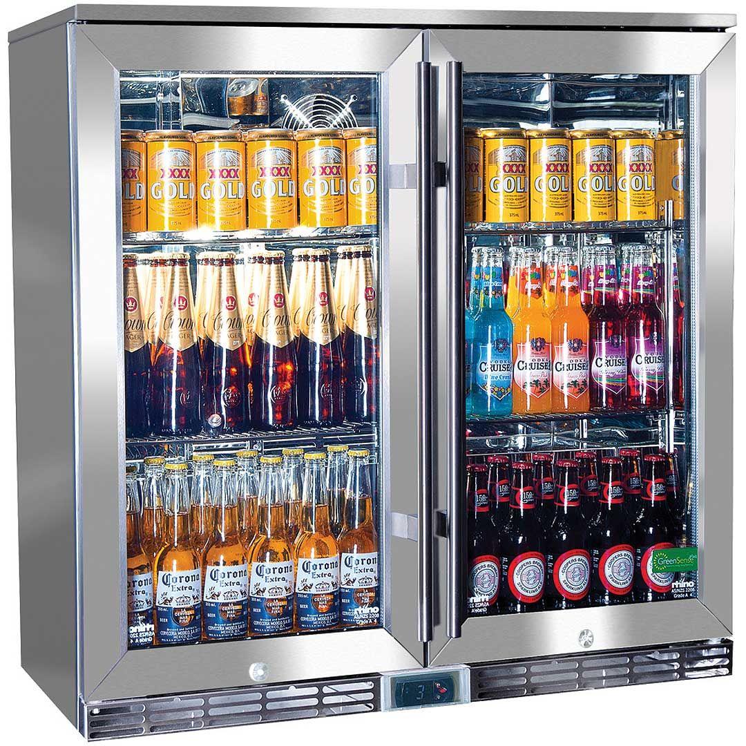 Rhino Glass 2 Door Energy Efficient Alfresco 208l Bar Fridge With Low E Glass Bar Fridges Glass Bar Double Glass Doors