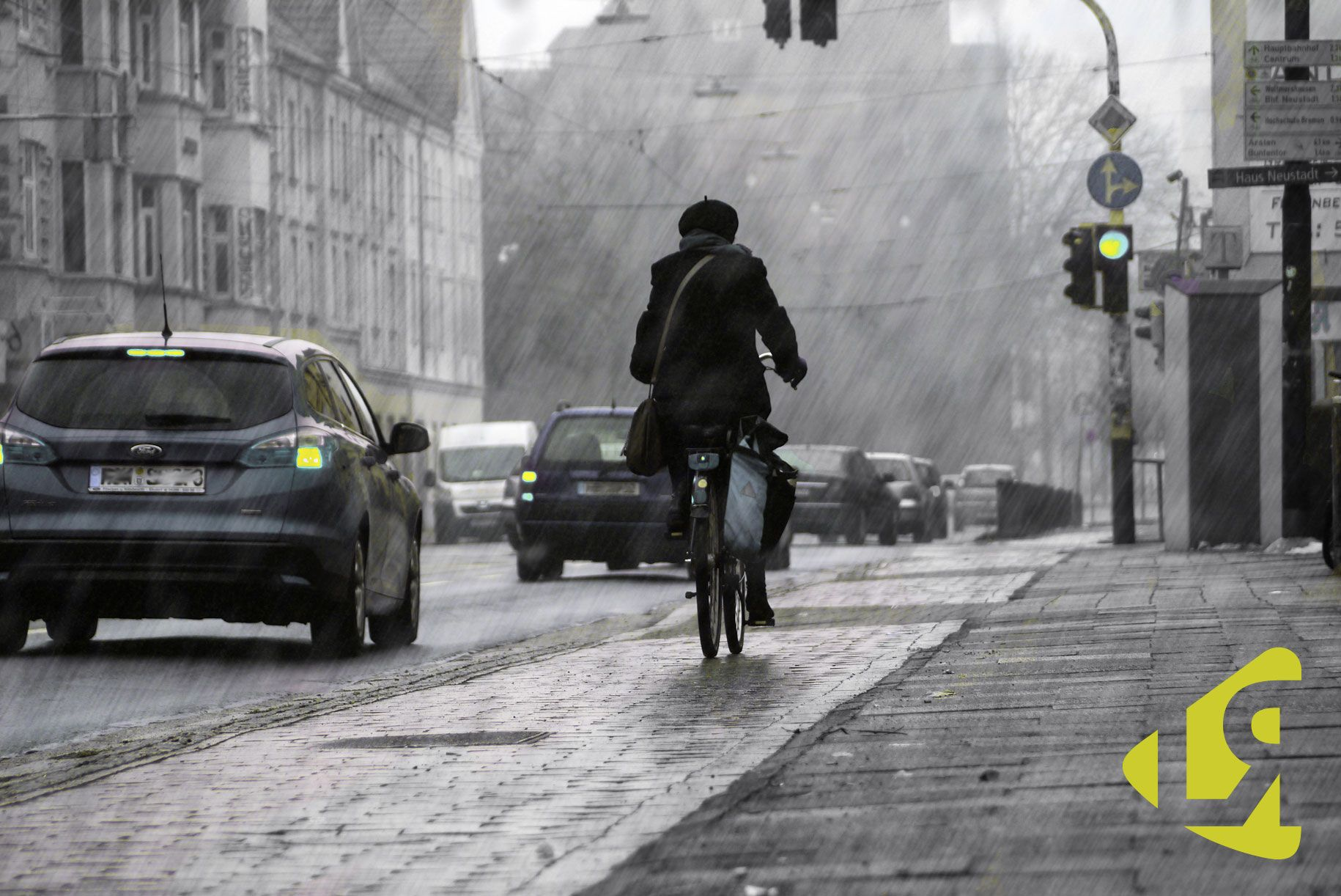 Fahrradfahren Im Regen