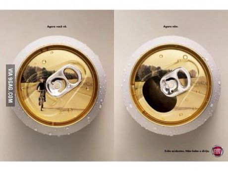 "Anti drink-driving poster in Brazil. The caption reads ""Now you see it. Now you don't."""