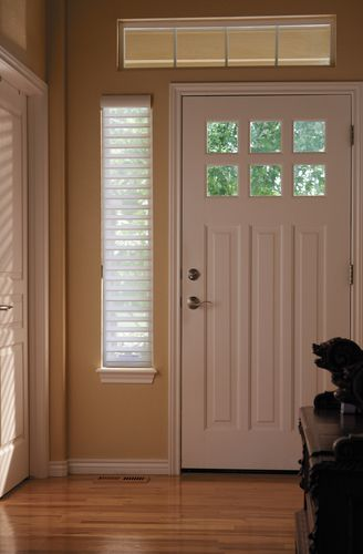 Nantucket Shades By Hunter Douglas Look Great On The Sidelights Of This Door If You Need To Light Window Treatments Front Doors With Windows Door Sidelights