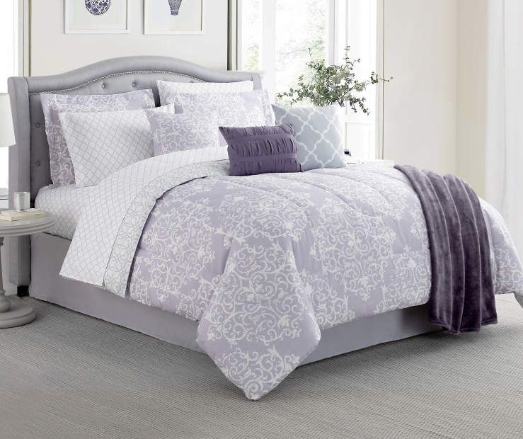 Living Colors Living Colors Delphina Lavender Tile 12 Piece Reversible Comforter Sets Big Lots Simple Room Purple Bedrooms Room Ideas Bedroom
