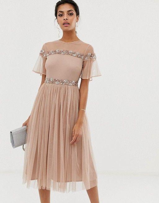 Maya short sleeve pleated midi dress with embellished bodice 88a422725