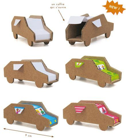 Cardbords 39 cars chirden toys made in france with recycled for Craft model with waste material