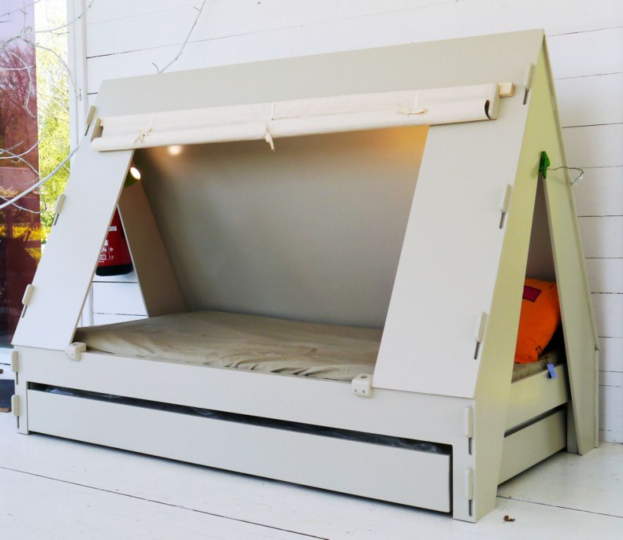 Trundle Bed for Children Creatively Closes into Private Tent with Light & Trundle Bed for Children Creatively Closes into Private Tent with ...