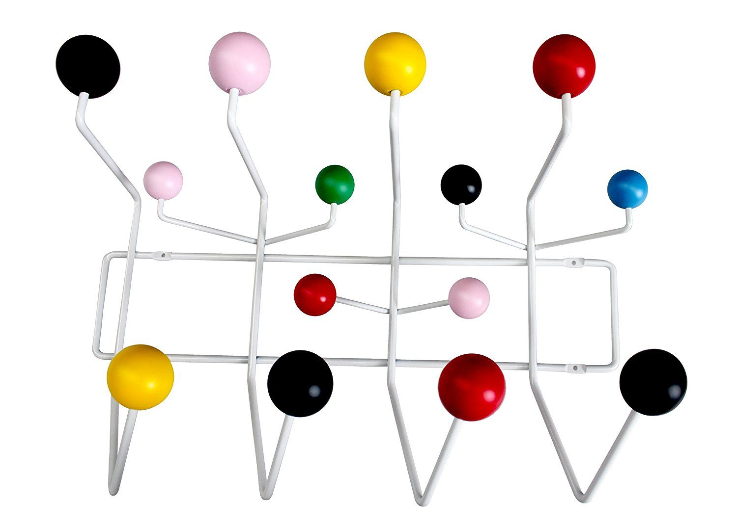 Amazon Com Mlf Eames Hang It All Wall Mounted Coat Rack With Painted Solid Wooden Balls In Eight Colors Multi Col Wall Mounted Coat Rack Wall Mount Coat Rack